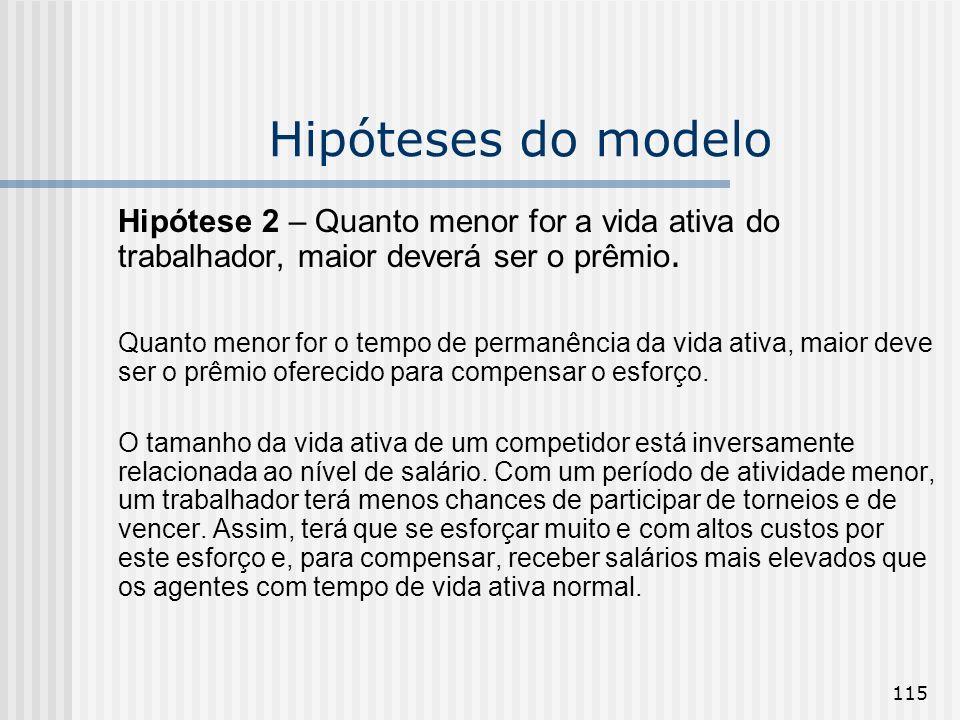 115 Hipóteses do modelo Hipótese 2 – Quanto menor for a vida ativa do trabalhador, maior deverá ser o prêmio. Quanto menor for o tempo de permanência