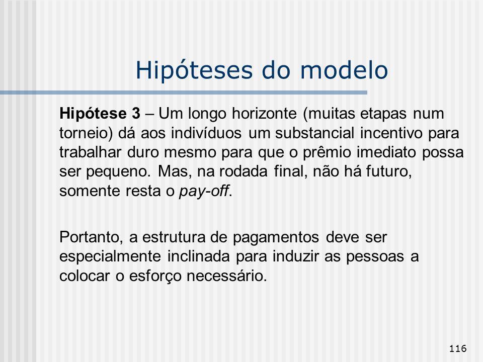 116 Hipóteses do modelo Hipótese 3 – Um longo horizonte (muitas etapas num torneio) dá aos indivíduos um substancial incentivo para trabalhar duro mes