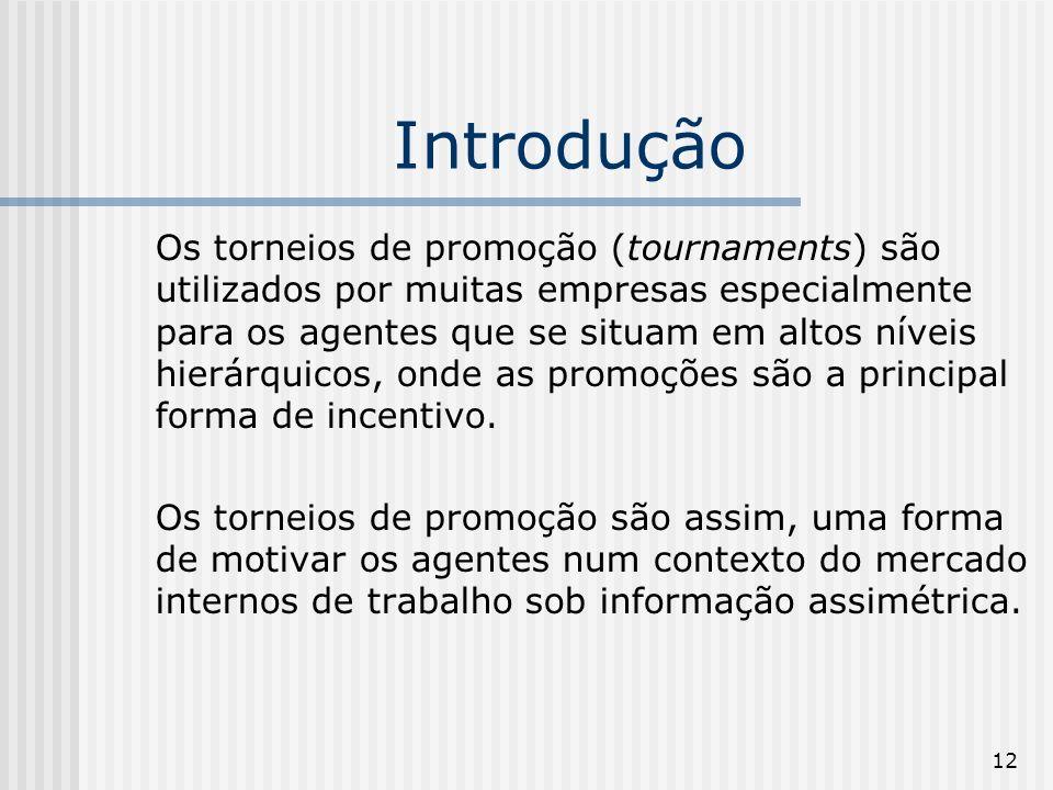 12 Introdução Os torneios de promoção (tournaments) são utilizados por muitas empresas especialmente para os agentes que se situam em altos níveis hie