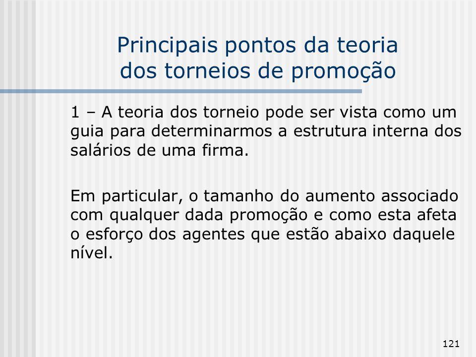 121 Principais pontos da teoria dos torneios de promoção 1 – A teoria dos torneio pode ser vista como um guia para determinarmos a estrutura interna d