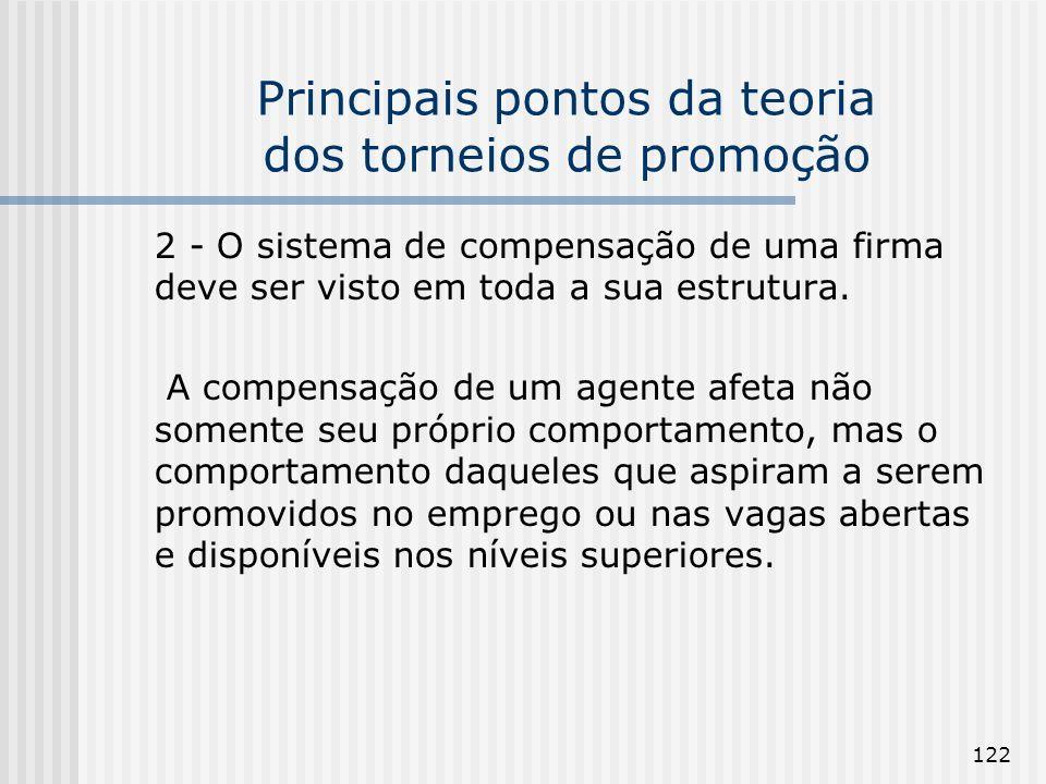 122 Principais pontos da teoria dos torneios de promoção 2 - O sistema de compensação de uma firma deve ser visto em toda a sua estrutura. A compensaç