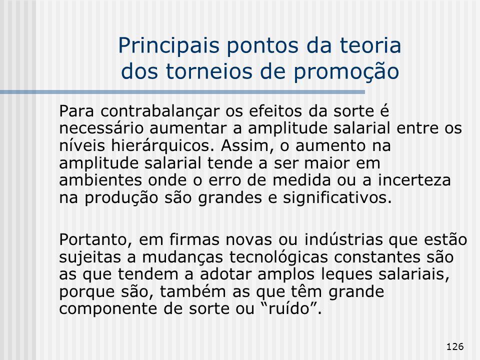 126 Principais pontos da teoria dos torneios de promoção Para contrabalançar os efeitos da sorte é necessário aumentar a amplitude salarial entre os n