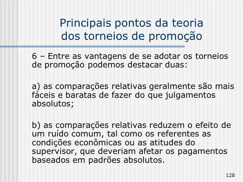 128 Principais pontos da teoria dos torneios de promoção 6 – Entre as vantagens de se adotar os torneios de promoção podemos destacar duas: a) as comp