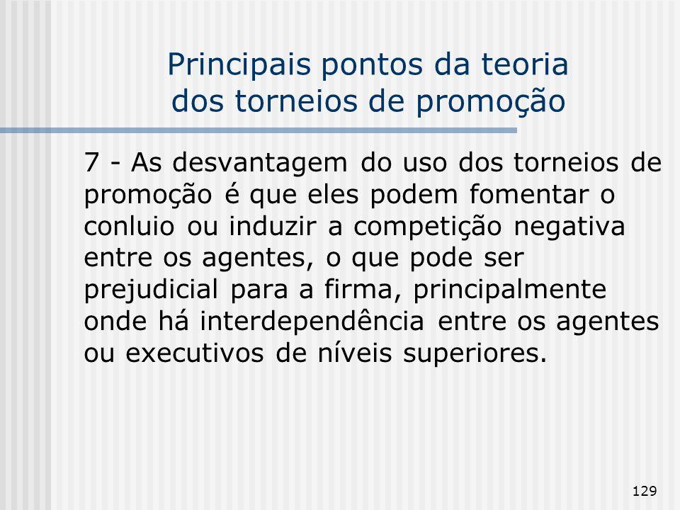129 Principais pontos da teoria dos torneios de promoção 7 - As desvantagem do uso dos torneios de promoção é que eles podem fomentar o conluio ou ind