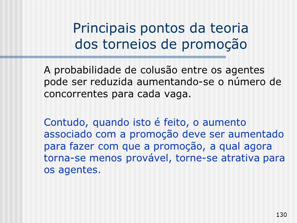 130 Principais pontos da teoria dos torneios de promoção A probabilidade de colusão entre os agentes pode ser reduzida aumentando-se o número de conco
