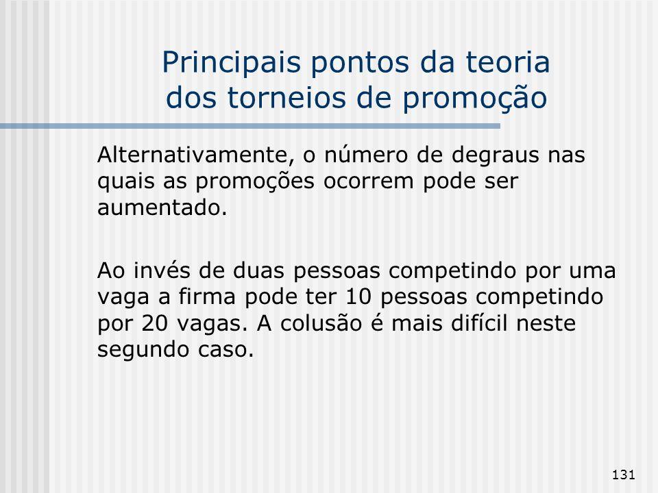131 Principais pontos da teoria dos torneios de promoção Alternativamente, o número de degraus nas quais as promoções ocorrem pode ser aumentado. Ao i
