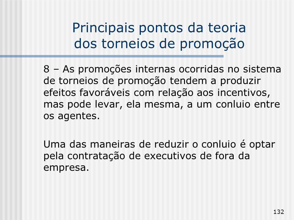 132 Principais pontos da teoria dos torneios de promoção 8 – As promoções internas ocorridas no sistema de torneios de promoção tendem a produzir efei