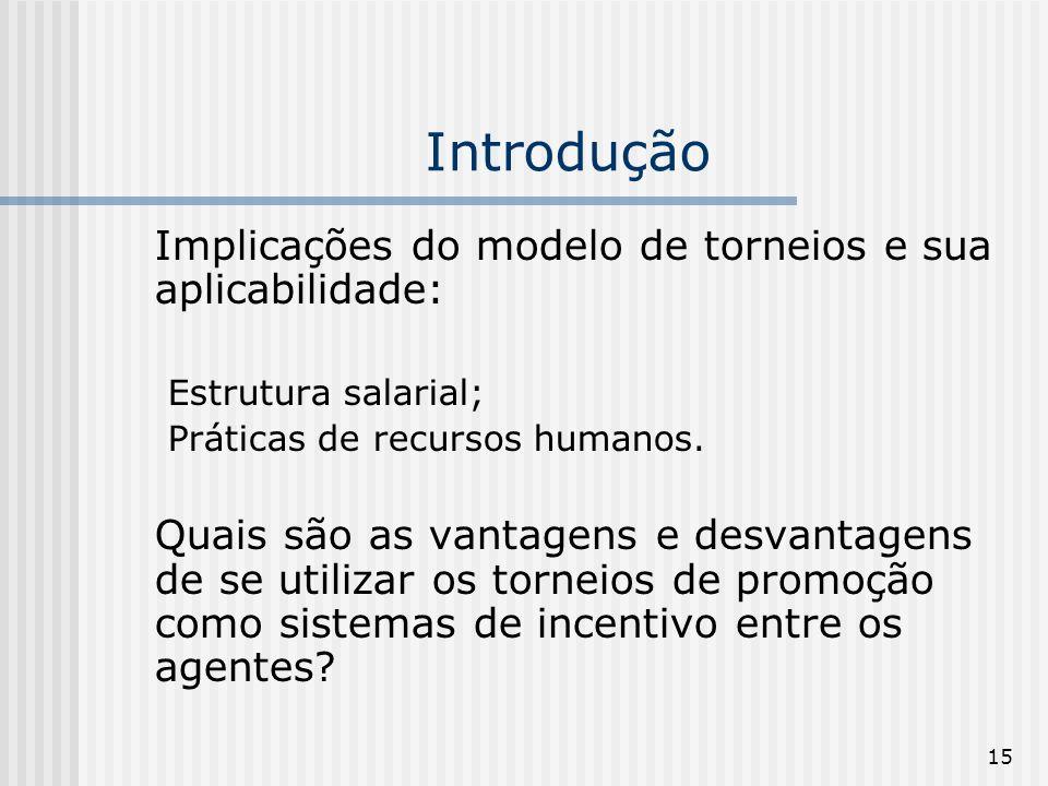 15 Introdução Implicações do modelo de torneios e sua aplicabilidade: Estrutura salarial; Práticas de recursos humanos. Quais são as vantagens e desva