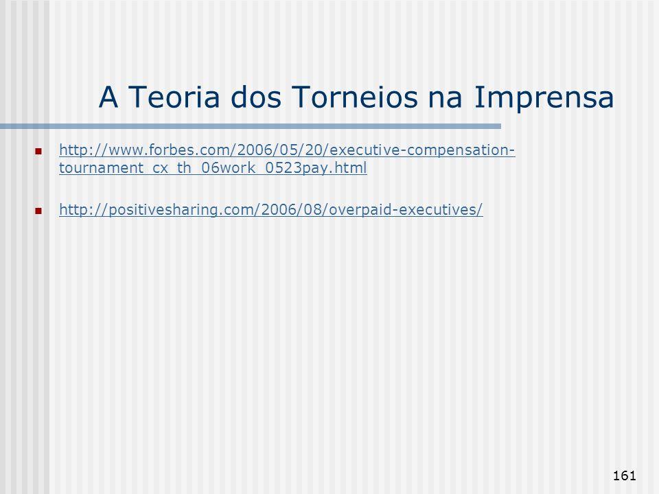 161 A Teoria dos Torneios na Imprensa http://www.forbes.com/2006/05/20/executive-compensation- tournament_cx_th_06work_0523pay.html http://www.forbes.