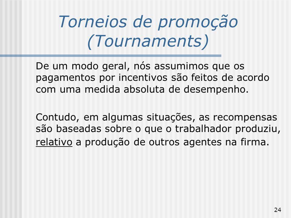 24 Torneios de promoção (Tournaments) De um modo geral, nós assumimos que os pagamentos por incentivos são feitos de acordo com uma medida absoluta de