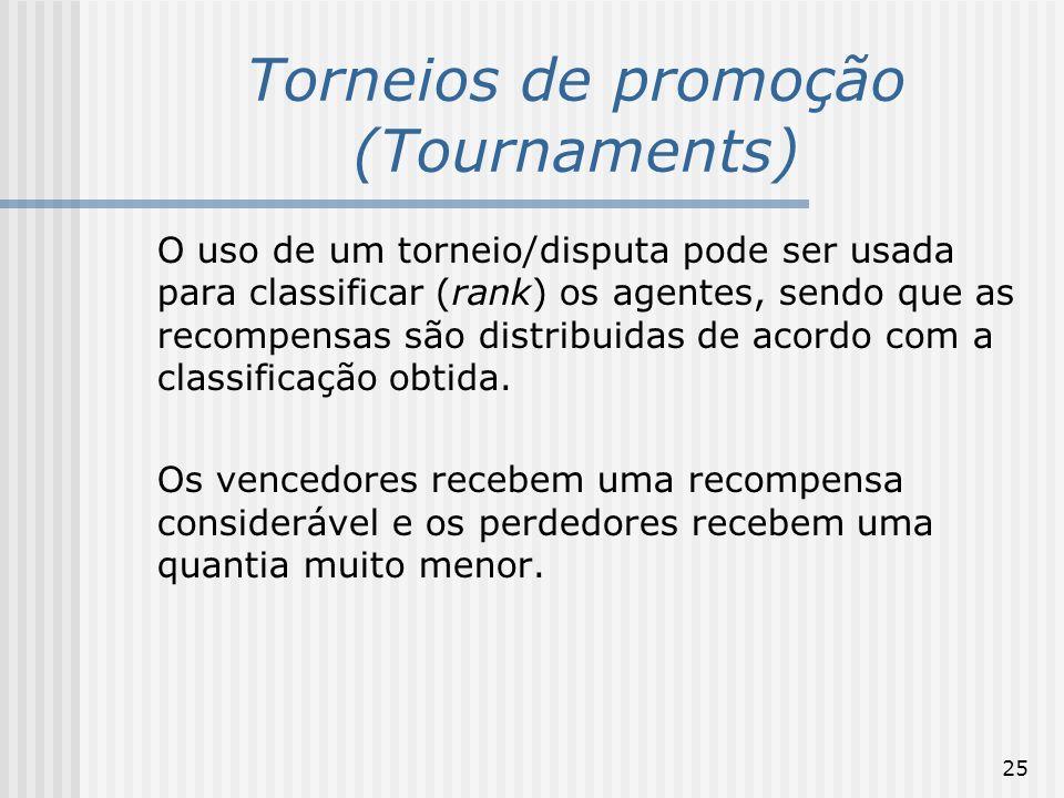 25 Torneios de promoção (Tournaments) O uso de um torneio/disputa pode ser usada para classificar (rank) os agentes, sendo que as recompensas são dist
