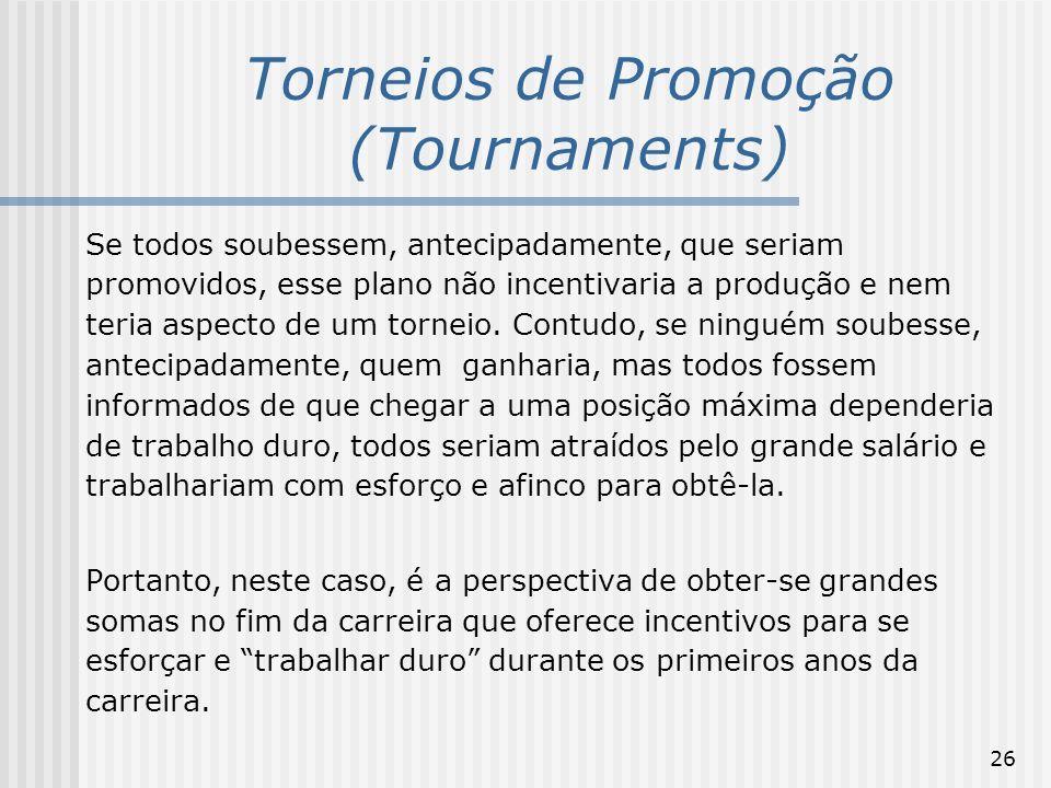 26 Torneios de Promoção (Tournaments) Se todos soubessem, antecipadamente, que seriam promovidos, esse plano não incentivaria a produção e nem teria a