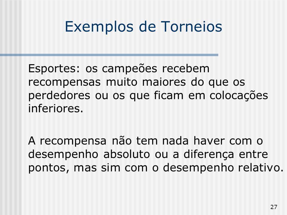 27 Exemplos de Torneios Esportes: os campeões recebem recompensas muito maiores do que os perdedores ou os que ficam em colocações inferiores. A recom