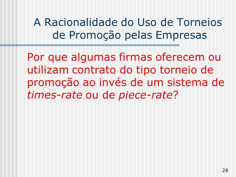 29 A Racionalidade do Uso de Torneios de Promoção pelas Empresas Por que algumas firmas oferecem ou utilizam contrato do tipo torneio de promoção ao i