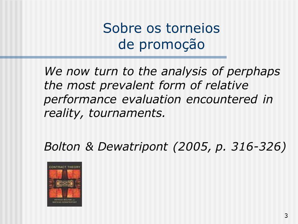 64 Características dos Torneios de Promoção (iii) A Teoria dos Torneios, por último, sustenta que o esforço que cada trabalhador deposita em uma competição de promoção depende do tamanho do aumento salarial que este receberá, caso vença.