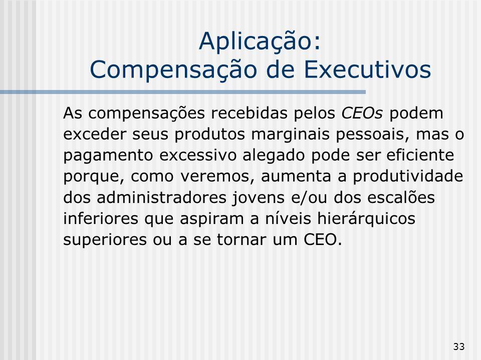 33 Aplicação: Compensação de Executivos As compensações recebidas pelos CEOs podem exceder seus produtos marginais pessoais, mas o pagamento excessivo