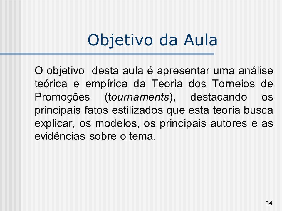 34 Objetivo da Aula O objetivo desta aula é apresentar uma análise teórica e empírica da Teoria dos Torneios de Promoções (tournaments), destacando os