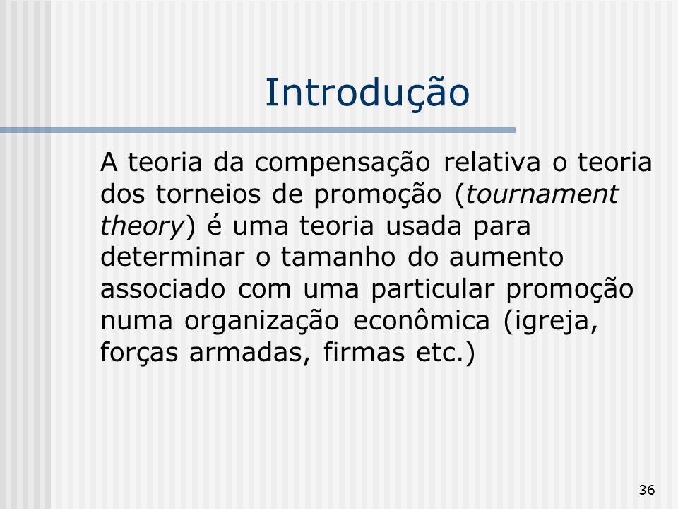 36 Introdução A teoria da compensação relativa o teoria dos torneios de promoção (tournament theory) é uma teoria usada para determinar o tamanho do a