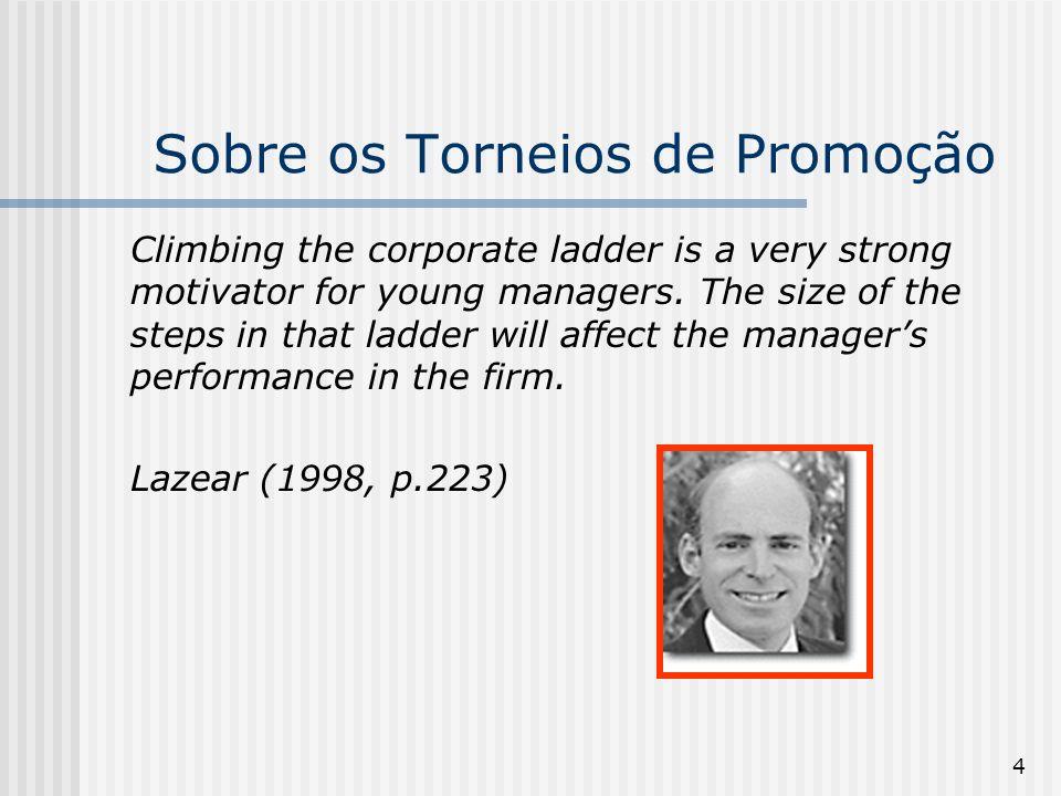 5 Sobre os torneios de promoção Tournament theory works whether firms are conscious of it or not.