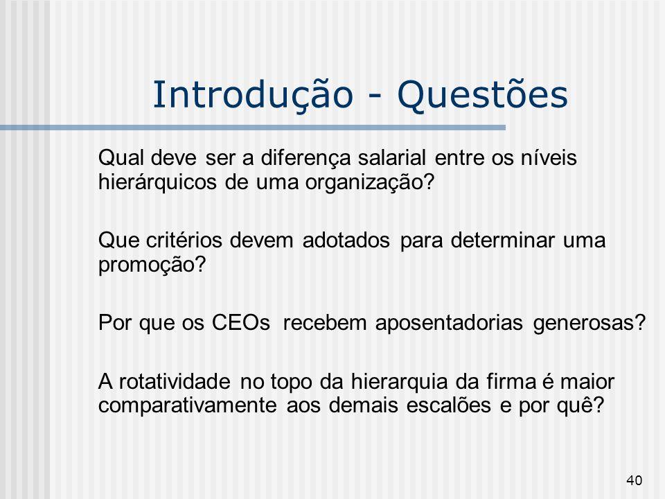 40 Introdução - Questões Qual deve ser a diferença salarial entre os níveis hierárquicos de uma organização? Que critérios devem adotados para determi