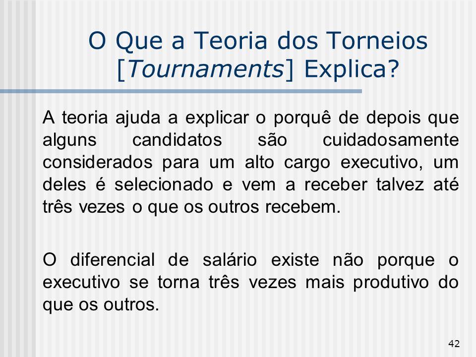 42 O Que a Teoria dos Torneios [Tournaments] Explica? A teoria ajuda a explicar o porquê de depois que alguns candidatos são cuidadosamente considerad