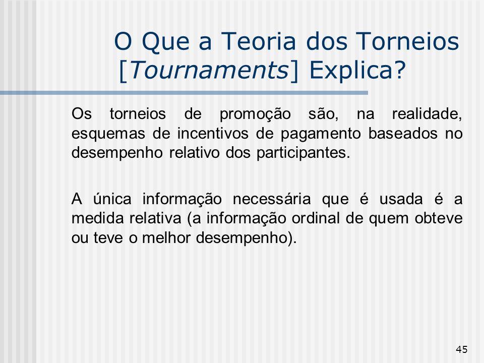 45 O Que a Teoria dos Torneios [Tournaments] Explica? Os torneios de promoção são, na realidade, esquemas de incentivos de pagamento baseados no desem