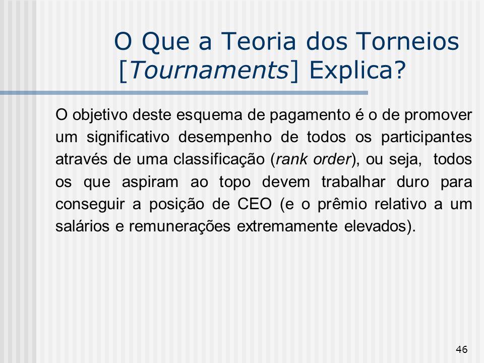 46 O Que a Teoria dos Torneios [Tournaments] Explica? O objetivo deste esquema de pagamento é o de promover um significativo desempenho de todos os pa