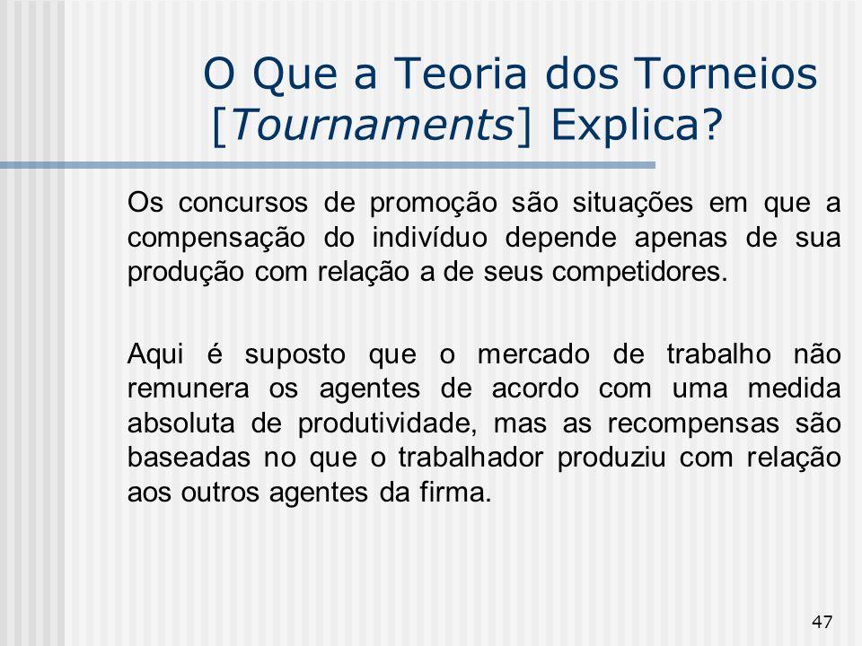 47 O Que a Teoria dos Torneios [Tournaments] Explica? Os concursos de promoção são situações em que a compensação do indivíduo depende apenas de sua p