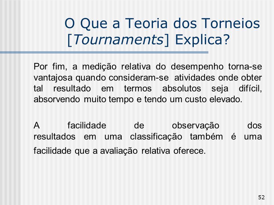 52 O Que a Teoria dos Torneios [Tournaments] Explica? Por fim, a medição relativa do desempenho torna-se vantajosa quando consideram-se atividades ond