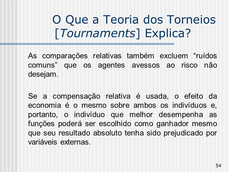 54 O Que a Teoria dos Torneios [Tournaments] Explica? As comparações relativas também excluem ruídos comuns que os agentes avessos ao risco não deseja