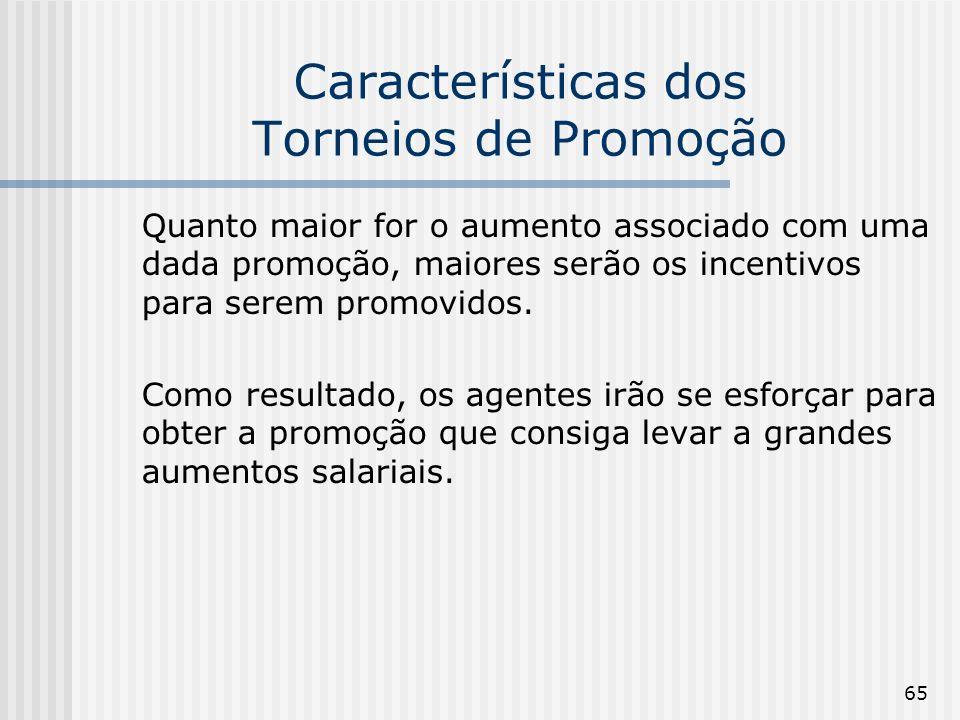 65 Características dos Torneios de Promoção Quanto maior for o aumento associado com uma dada promoção, maiores serão os incentivos para serem promovi