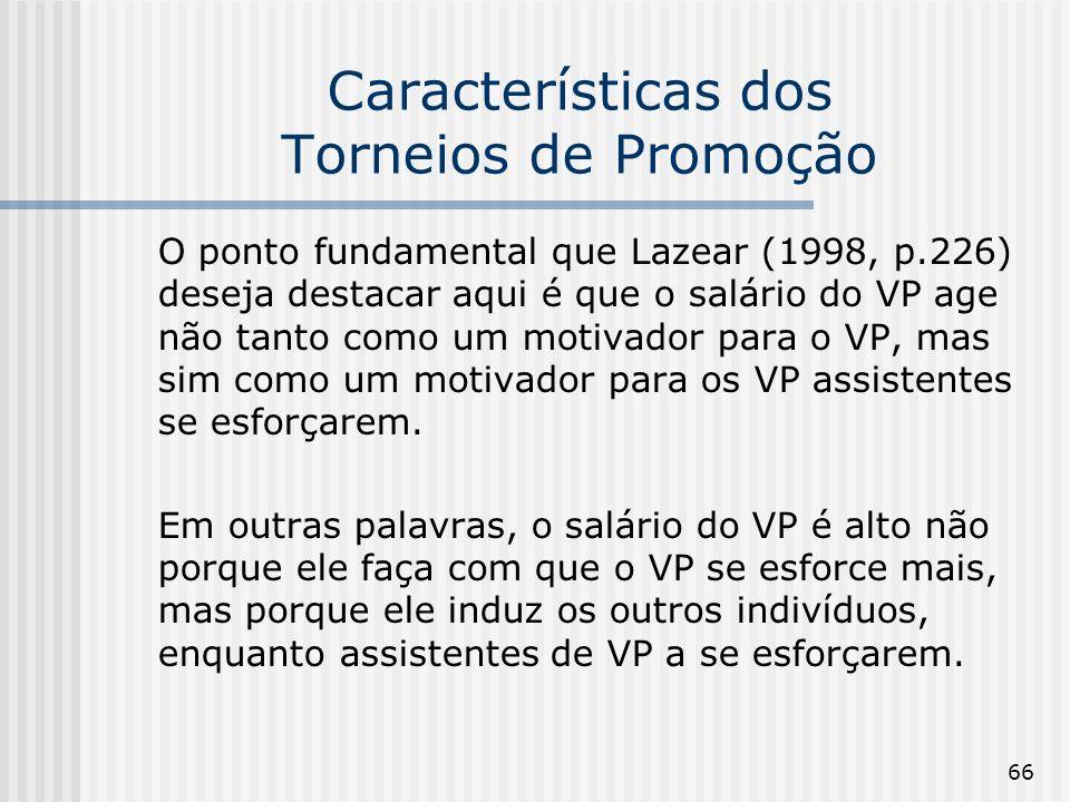 66 Características dos Torneios de Promoção O ponto fundamental que Lazear (1998, p.226) deseja destacar aqui é que o salário do VP age não tanto como