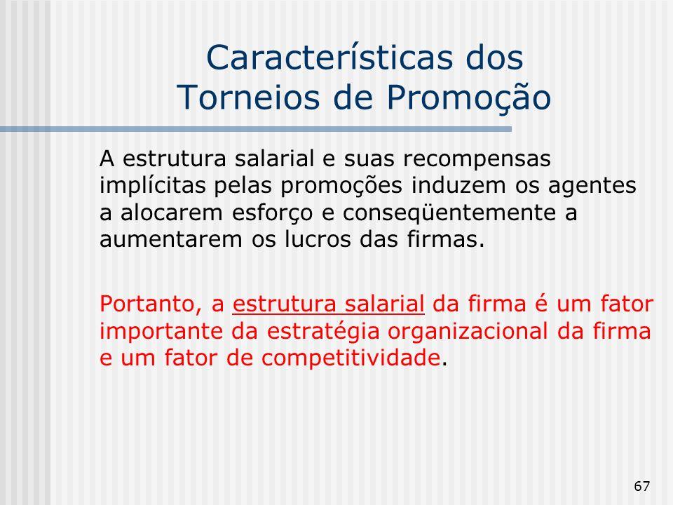 67 Características dos Torneios de Promoção A estrutura salarial e suas recompensas implícitas pelas promoções induzem os agentes a alocarem esforço e