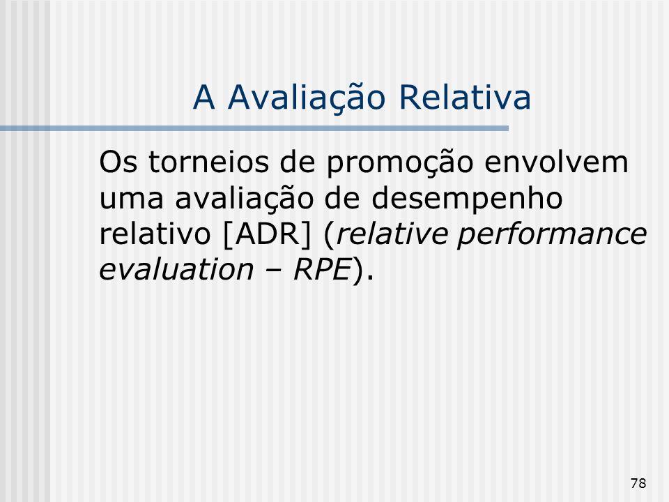 78 A Avaliação Relativa Os torneios de promoção envolvem uma avaliação de desempenho relativo [ADR] (relative performance evaluation – RPE).