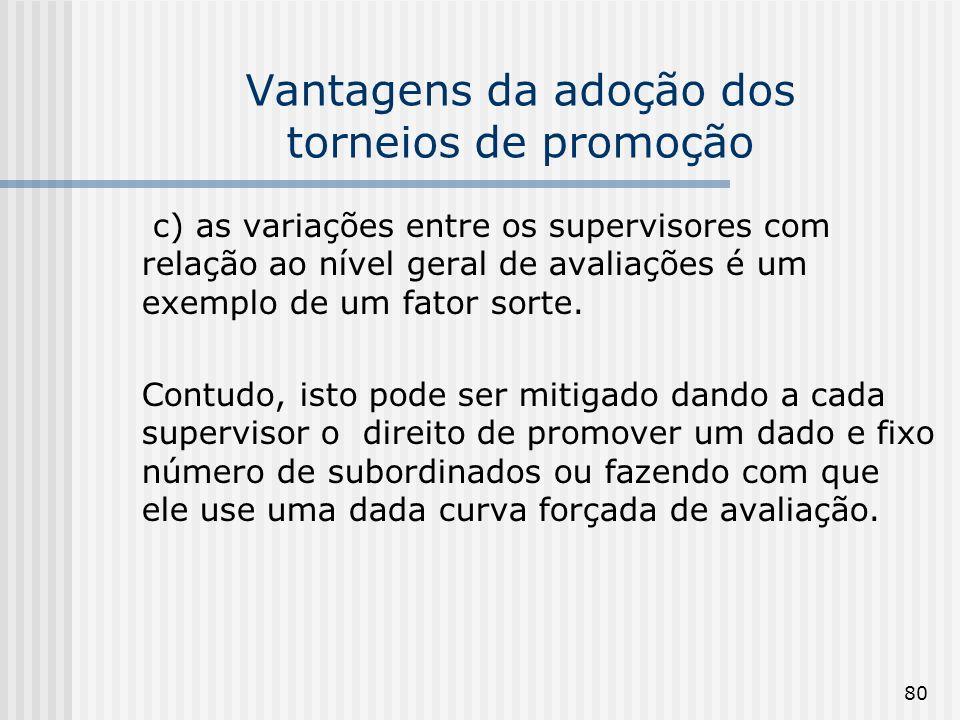 80 Vantagens da adoção dos torneios de promoção c) as variações entre os supervisores com relação ao nível geral de avaliações é um exemplo de um fato