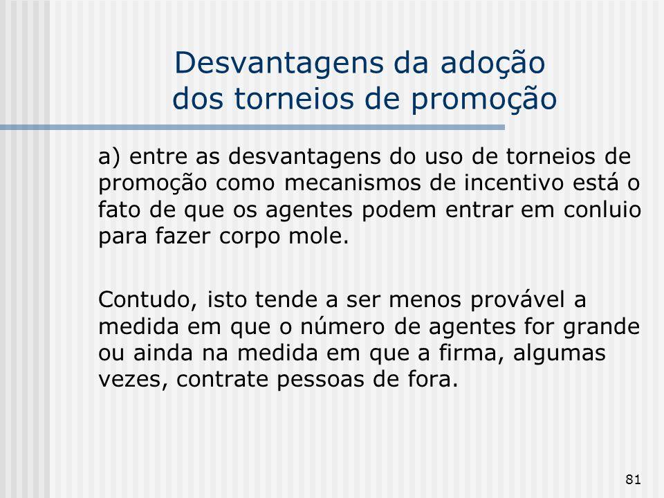 81 Desvantagens da adoção dos torneios de promoção a) entre as desvantagens do uso de torneios de promoção como mecanismos de incentivo está o fato de