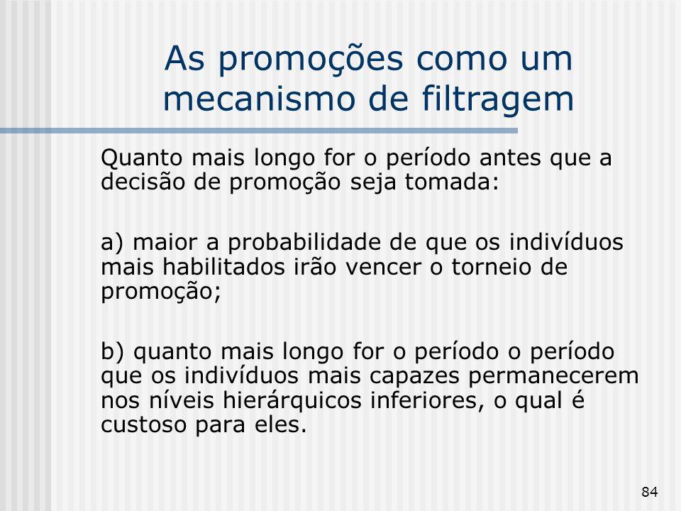 84 As promoções como um mecanismo de filtragem Quanto mais longo for o período antes que a decisão de promoção seja tomada: a) maior a probabilidade d