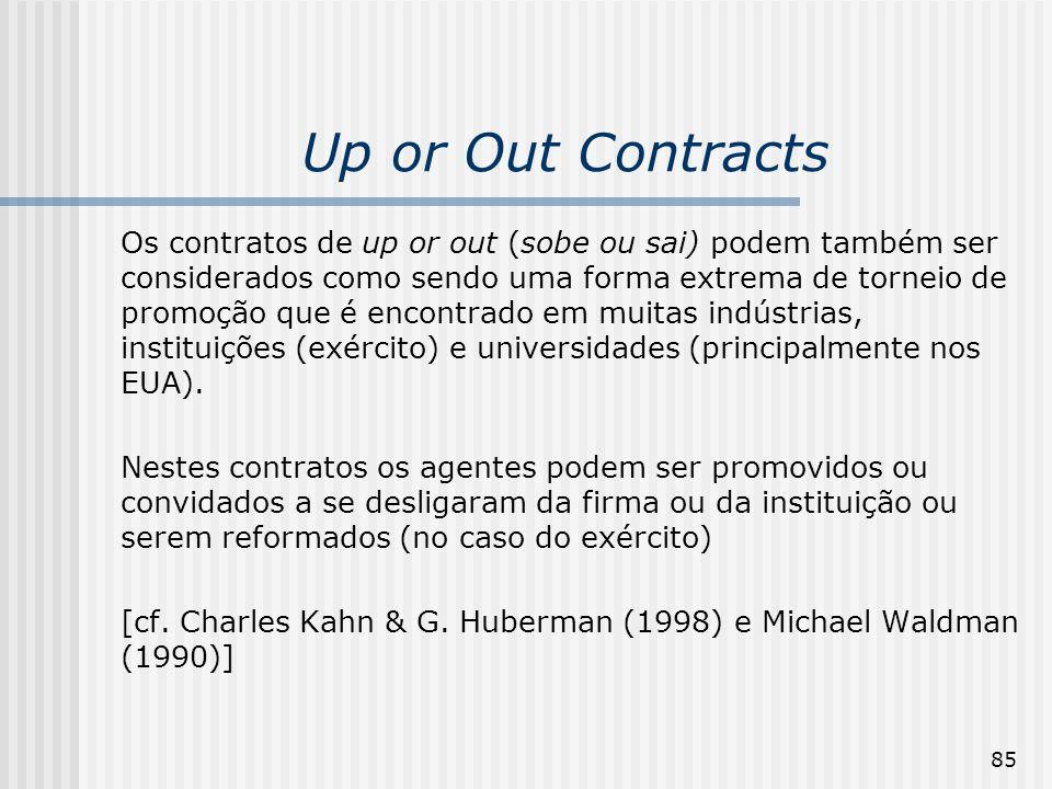 85 Up or Out Contracts Os contratos de up or out (sobe ou sai) podem também ser considerados como sendo uma forma extrema de torneio de promoção que é