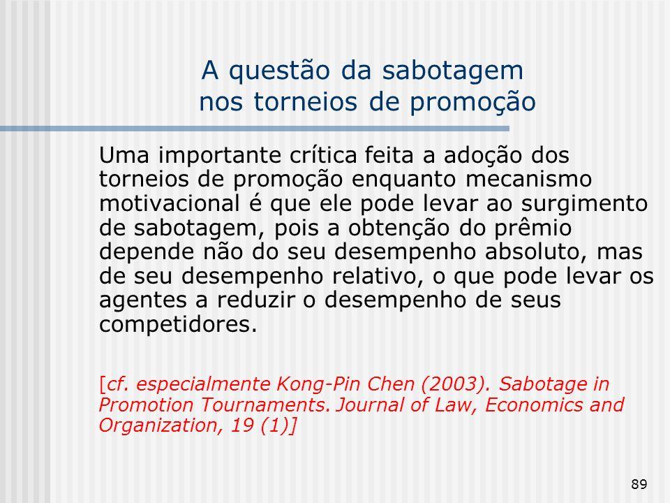 89 A questão da sabotagem nos torneios de promoção Uma importante crítica feita a adoção dos torneios de promoção enquanto mecanismo motivacional é qu