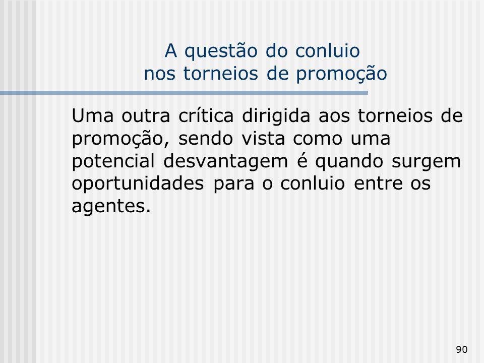 90 A questão do conluio nos torneios de promoção Uma outra crítica dirigida aos torneios de promoção, sendo vista como uma potencial desvantagem é qua