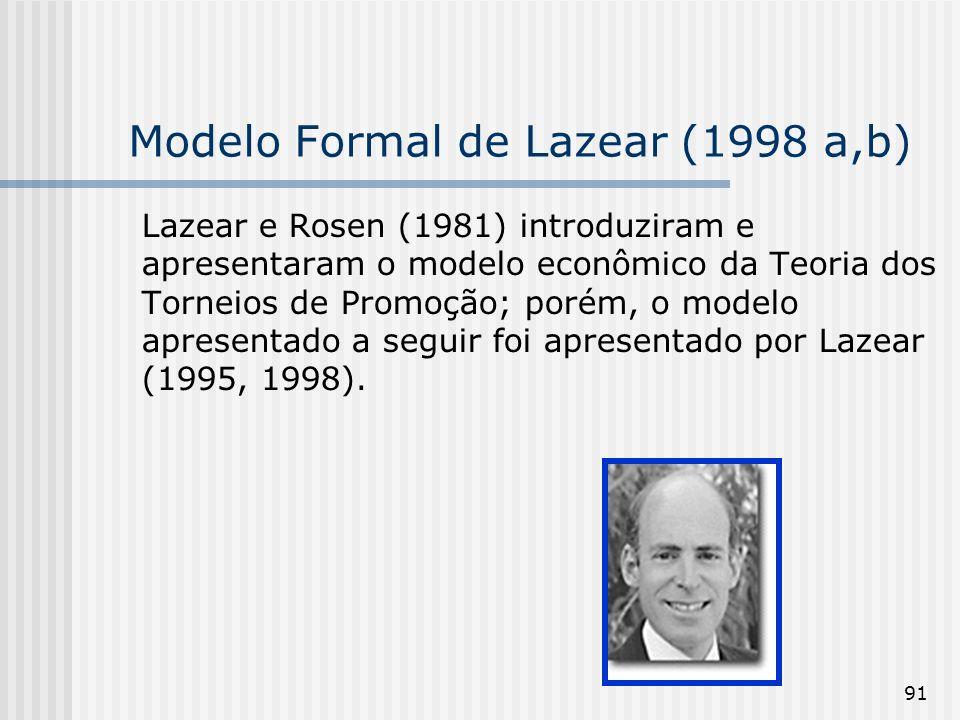 91 Modelo Formal de Lazear (1998 a,b) Lazear e Rosen (1981) introduziram e apresentaram o modelo econômico da Teoria dos Torneios de Promoção; porém,