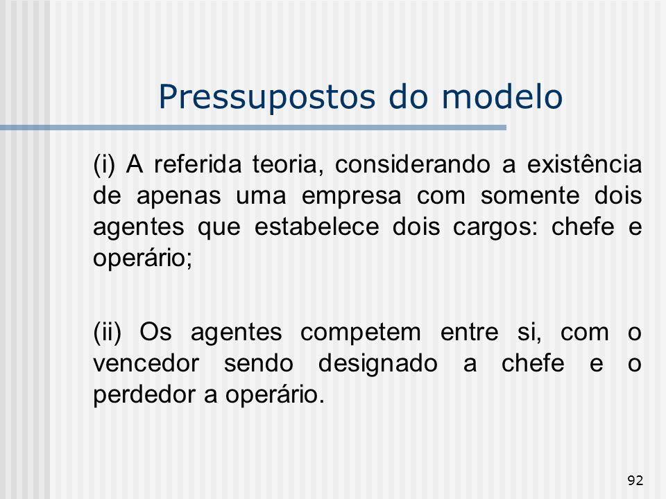 92 Pressupostos do modelo (i) A referida teoria, considerando a existência de apenas uma empresa com somente dois agentes que estabelece dois cargos: