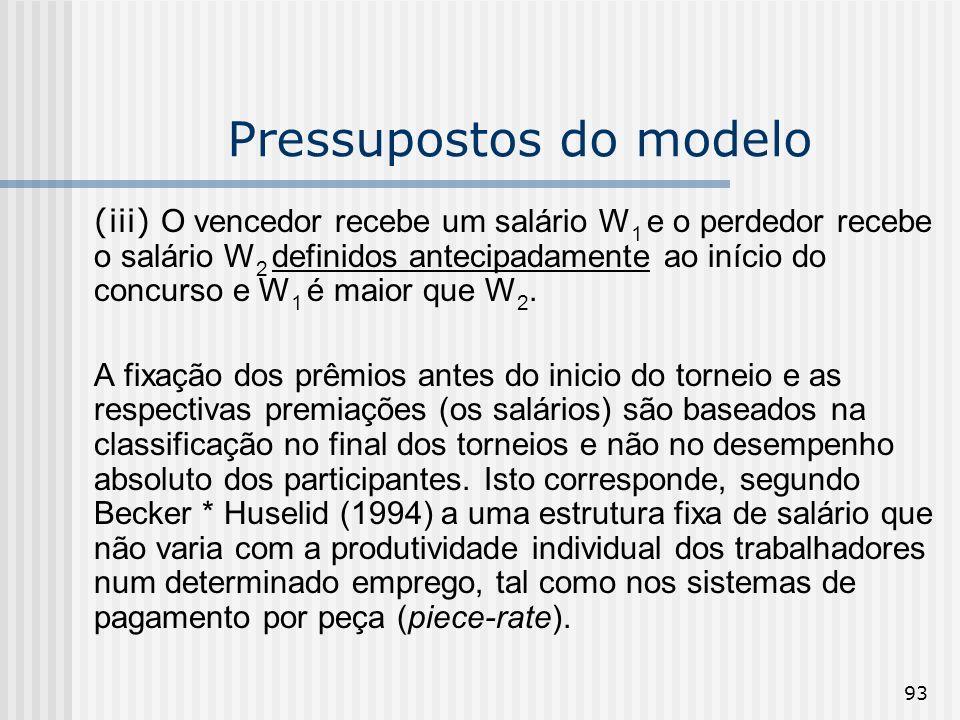 93 Pressupostos do modelo (iii) O vencedor recebe um salário W 1 e o perdedor recebe o salário W 2 definidos antecipadamente ao início do concurso e W