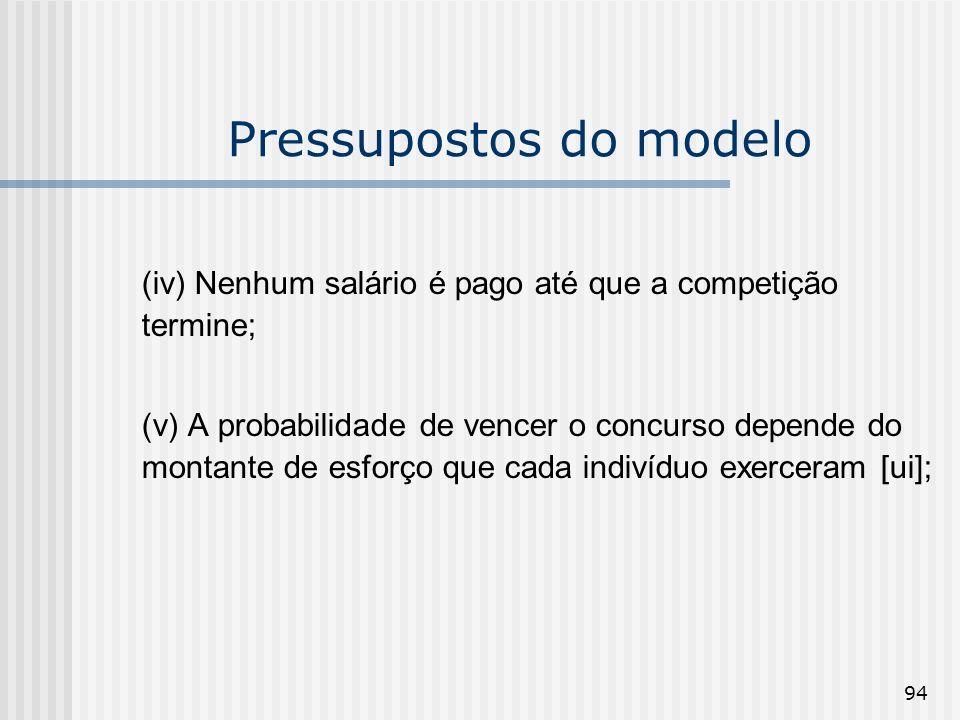 94 Pressupostos do modelo (iv) Nenhum salário é pago até que a competição termine; (v) A probabilidade de vencer o concurso depende do montante de esf