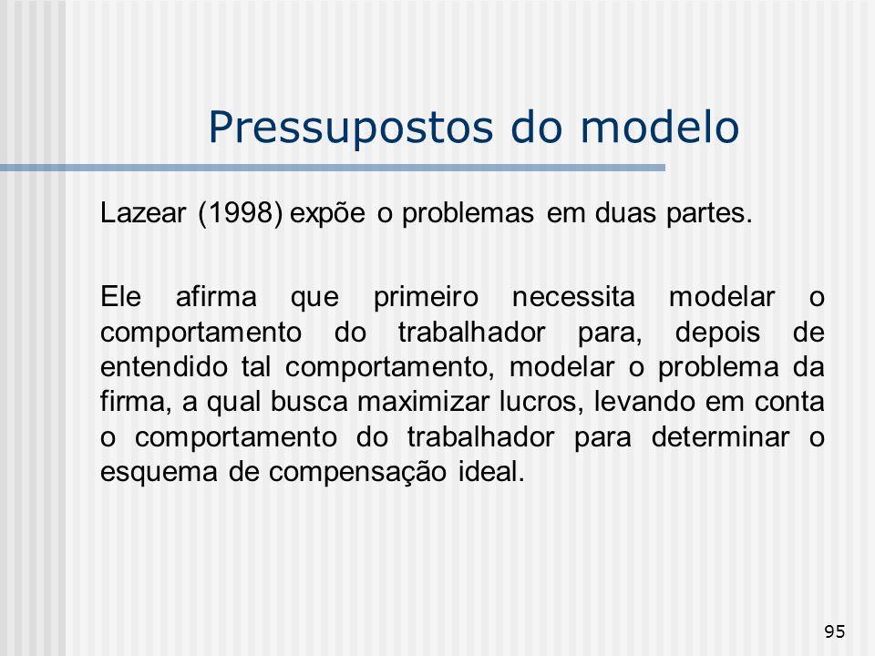 95 Pressupostos do modelo Lazear (1998) expõe o problemas em duas partes. Ele afirma que primeiro necessita modelar o comportamento do trabalhador par