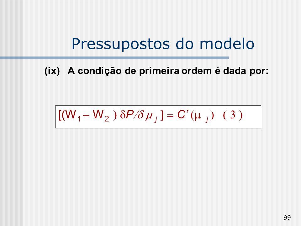 99 Pressupostos do modelo (ix) A condição de primeira ordem é dada por: [(W 1 – W 2 P j C j