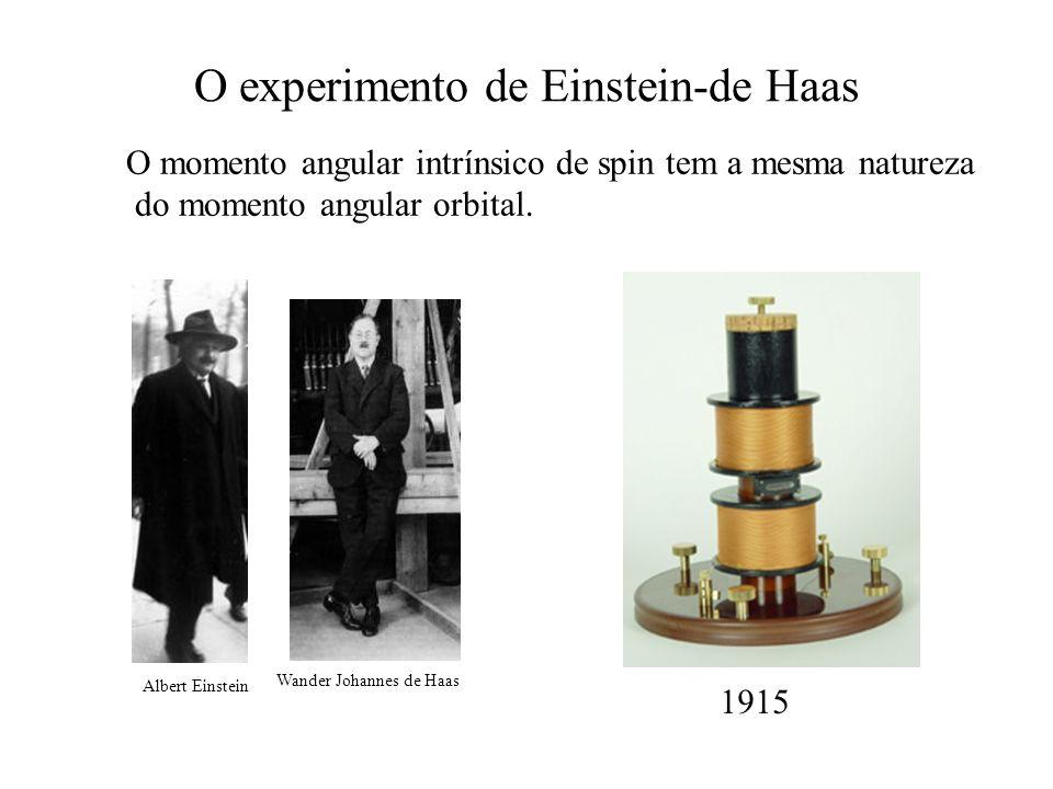 O experimento de Einstein-de Haas Wander Johannes de Haas Albert Einstein 1915 O momento angular intrínsico de spin tem a mesma natureza do momento an