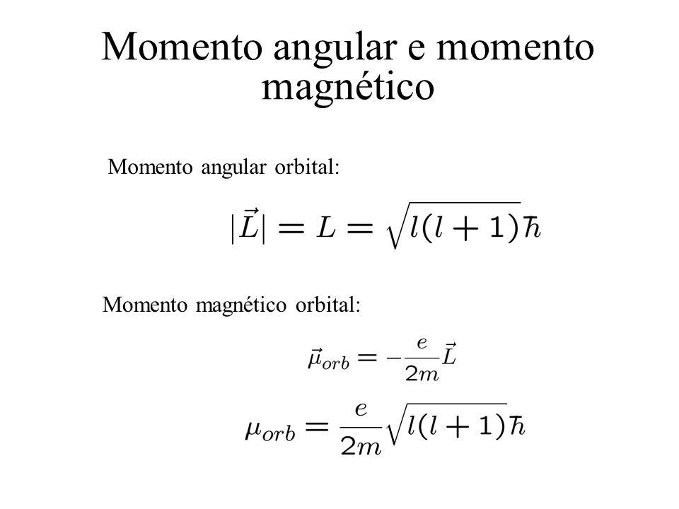 Momento angular e momento magnético Momento angular orbital: Momento magnético orbital: