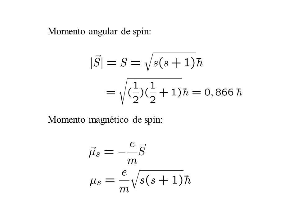 Momento angular de spin: Momento magnético de spin: