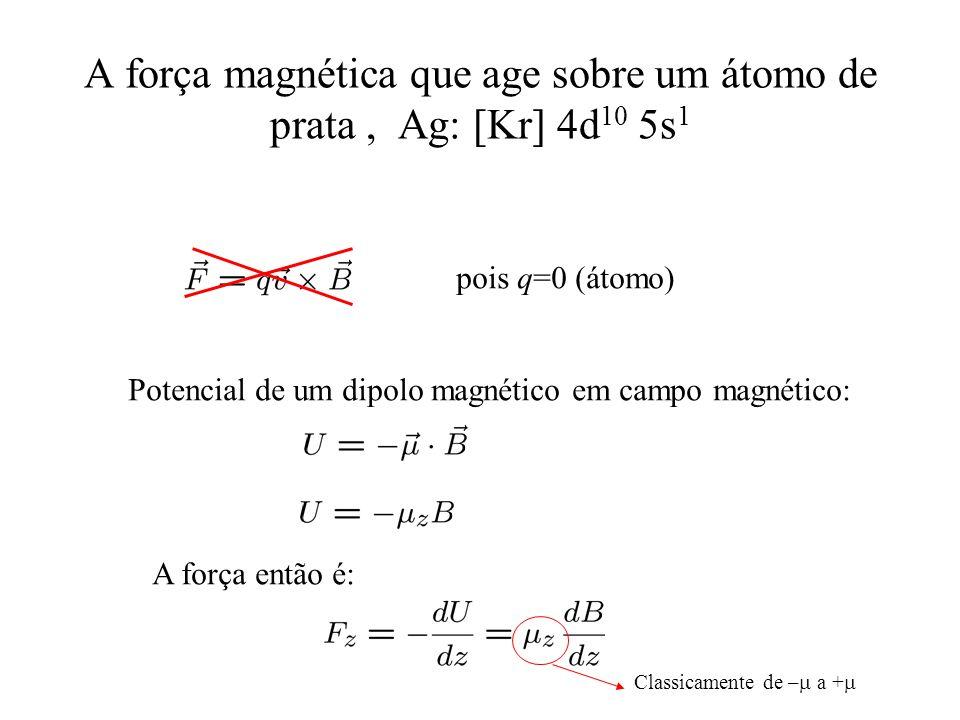 A força magnética que age sobre um átomo de prata, Ag: [Kr] 4d 10 5s 1 pois q=0 (átomo) Potencial de um dipolo magnético em campo magnético: A força e